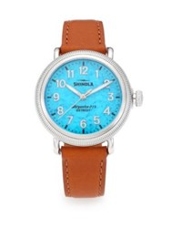 Shinola Runwell Coin Edge Stainless Steel And Leather Strap Watch
