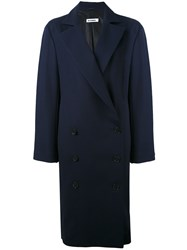 Jil Sander Capo Verde Coat Women Silk Cotton Cupro 34 Blue