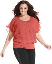 Styleandco. Style And Co. Plus Size Flutter Sleeve Banded Hem Top