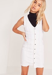 Missguided Ripped Button Through Denim Dress White White