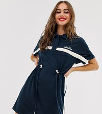 Ellesse Recycled Utility Dress With Drawcord Waist And Contrast Stripe Navy