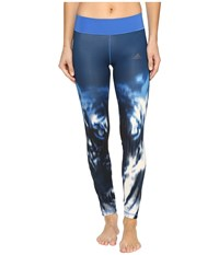Adidas Wow Drop 2 Tights Blue Print Blue Women's Casual Pants