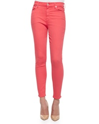 7 For All Mankind High Rise Skinny Ankle Jeans Coral