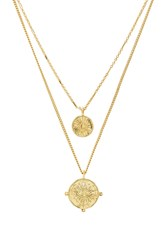 Luv Aj X Revolve The Double Coin Charm Necklace Metallic Gold
