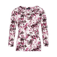 Viyella Floral Cowl Neck Top Cream Pink