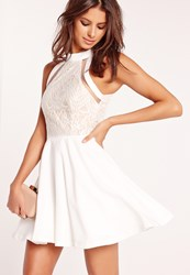 Missguided Mesh Striped Lace Top Skater Dress White White