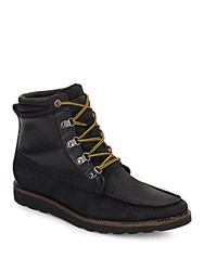 French Connection Cain Leather And Suede Boots Black