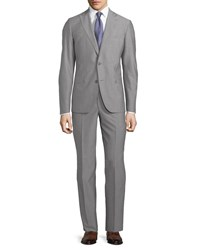 Neiman Marcus Modern Fit Two Piece Wool Suit Light Grey