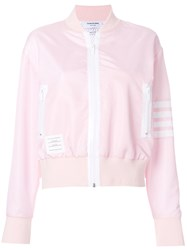 Thom Browne Seamed 4 Bar Stripe Lightweight Ripstop Bomber Pink And Purple