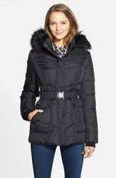 Women's Dkny 'Hayley' Faux Fur Trim Hooded Belted Quilted Jacket Black