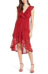 Soprano Ruffle Lace Wrap Dress Red