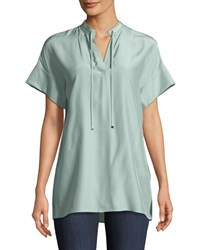 Lafayette 148 New York Kaitlyn Matte Silk Blouse Herbal Mist