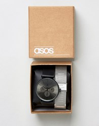 Asos Interchangeable Mesh Bracelet Watch Black Multi