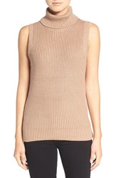 Michael Michael Kors Women's Shaker Knit Sleeveless Turtleneck Sweater Dark Camel