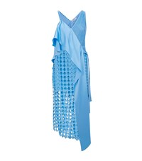 Diane Von Furstenberg Asymmetrical Lace Wrap Dress Female Blue