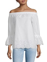 Beach Lunch Lounge Off The Shoulder Cotton Top White