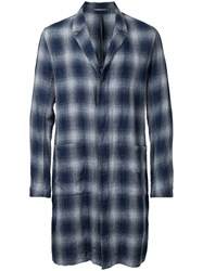 Kazuyuki Kumagai Checked Single Breasted Coat Men Cotton Linen Flax 2 Blue