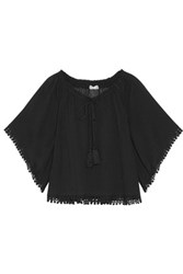 Loveshackfancy Gypsy Off The Shoulder Lace Trimmed Cotton Guaze Top Black