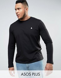 Asos Plus Long Sleeve T Shirt With Logo And Crew Neck Black