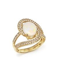 Bloomingdale's Oval Opal And Pave Diamond Ring In 14K Yellow Gold White Gold