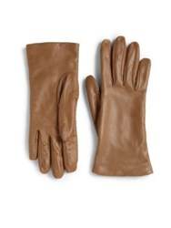 Saks Fifth Avenue Cashmere Lined Leather Gloves Medium Brown