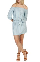 Paige Women's Beatrice Chambray Off The Shoulder Dress Vineland Stripe