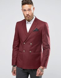 Asos Skinny Blazer With In Burgundy Gold Buttons Burgundy Red