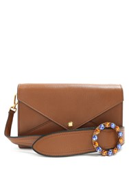 Miu Miu Embellished Strap Grained Leather Envelope Bag Tan