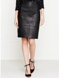 Reiss Avril Leather Skirt Black