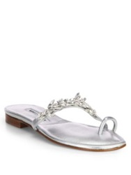 Manolo Blahnik Nadira Jeweled Metallic Leather Sandals Silver