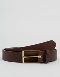 Asos Smart Belt In Brown Faux Leather Brown