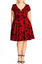 City Chic Plus Size Women's Rose Beauty Belted Fit And Flare Dress Red Scarlet