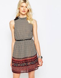 Only Summit High Neck Printed Dress Cloud Dancer White