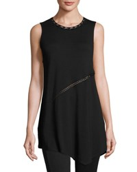 Elie Tahari Clydie Crochet Trim Asymmetric Knit Top Black