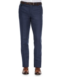 Berluti Linen Cotton Blend Flat Front Trousers Notte