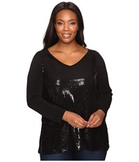 Karen Kane Plus Size V Neck Sequin Top Black Women's Clothing