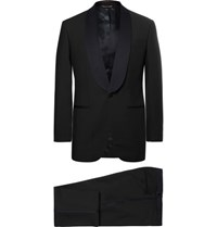 Thom Sweeney Midnight Blue Slim Fit Satin Trimmed Wool Three Piece Tuxedo Midnight Blue