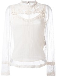 Red Valentino Macrame Detailing Sheer Blouse Nude Neutrals