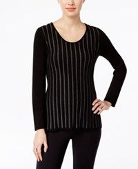 Ny Collection Petite Metallic Stripe Sweater Black And Grey