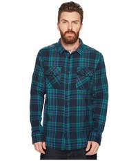 Rvca Camino Flannel Long Sleeve Shirt Federal Blue Long Sleeve Button Up