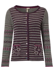 White Stuff Otto Fairisle Cardigan Eclectic Purple