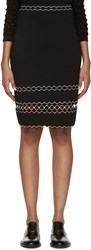 Alexander Mcqueen Black And White Knit Pencil Skirt