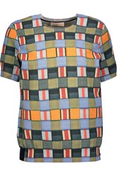 Tory Burch Textured Printed Stretch Jersey T Shirt Multi