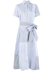 Lisa Marie Fernandez Cotton Patchwork Shirt Dress Light Blue Grey