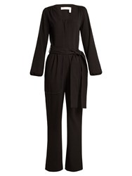 See By Chloe Long Sleeved Stretch Crepe Jumpsuit Black