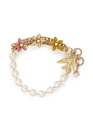 Miriam Haskell Bird Clasp Beaded Floral Glass Pearl Bracelet White Multi Colour
