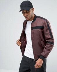 Asos Bomber With Tape Detail In Burgundy Burgundy Red