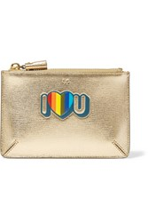 Anya Hindmarch I Love You Small Metallic Textured Leather Pouch Gold