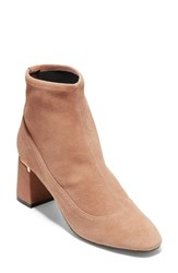 Cole Haan Laree Stretch Bootie Mocha Stretch Suede