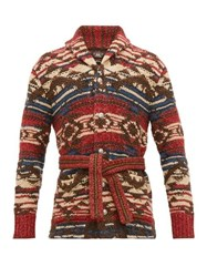 Rrl Ranch Belted Jacquard Sweater Red Multi